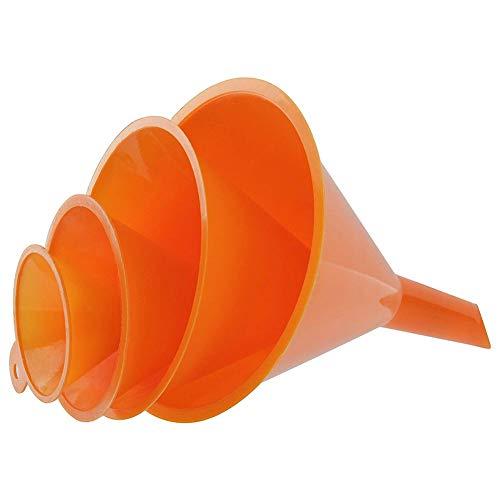 Quanjucheer Kunststofftrichter zum Ausgießen von Öl, Kraftstoff, Benzin, Küche, Auto, leicht zu reinigen, Orange