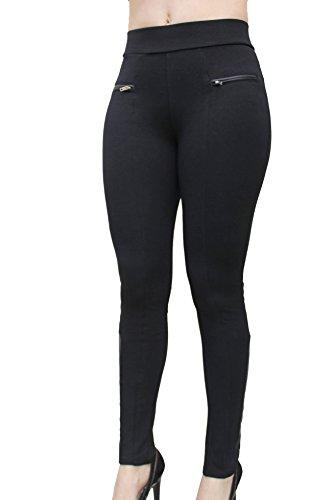 Ci Sono High Waist Legging with PU Leather Trim (Medium, Black)