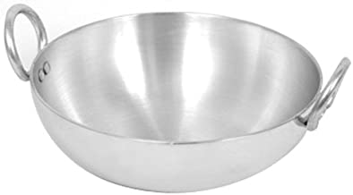 King International Aluminium Kadhai| Chinese Wok| Aluminium Indian Kadai- 8 inches | Chinese Wok Frying Pan,Color-Silver S...