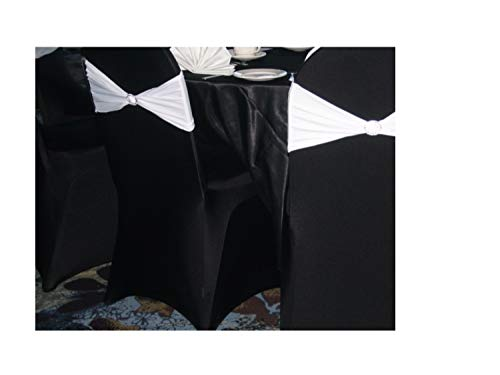 SPRINGROSE 50 Black Scuba Spandex Stretch Universal Wedding Chair Covers. These are Made for Folding and Banquet Chairs.