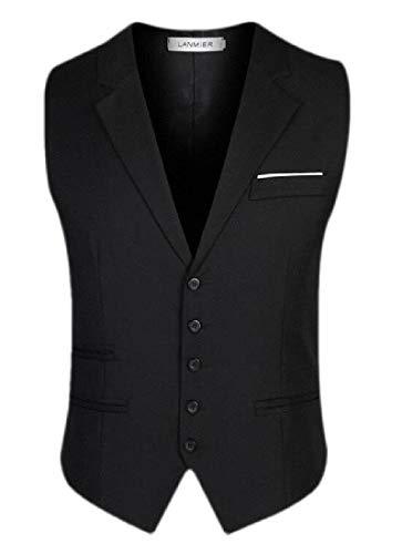 dahuo Mens Notch Lapel Vest Slim Fit Sleeveless Dress Suit Waistcoat Black M