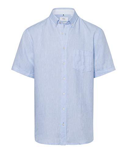 BRAX Herren Style Drake Airwashed Linen Freizeithemd, Bleu, Large (Herstellergröße: L)