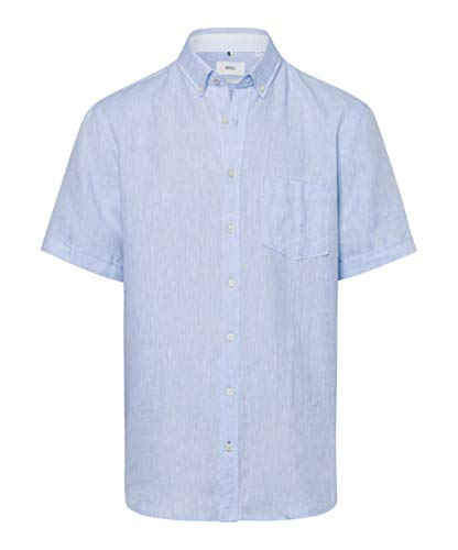 BRAX Style Drake Airwashed Linen Camicia Casual, Blu (Bleu 28), L Uomo