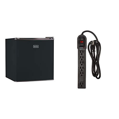 BLACK+DECKER BCRK17B Compact Refrigerator Energy Star Single Door Mini Fridge with Freezer, 1.7 Cubic Feet & AmazonBasics 6-Outlet Surge Protector Power Strip, 6-Foot Long Cord, 790 Joule - Black