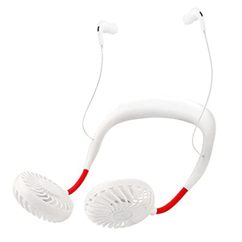 SYXBB-Lampe Collar de Ventilador portátil, Ventilador de Cuello a Mano alzada portátil con Auriculares Bluetooth, Mini Ventilador de USB Personal con 3 velocidades, 2 Cabezas de Viento
