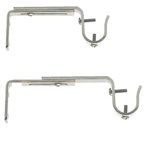 Soporte de Pared Extensible y Ajustable para Cortinas Bar, Ø 19 mm, Longitud de 125-170 mm, satén Colores de níquel (un Juego de 2 Medios Varillas)