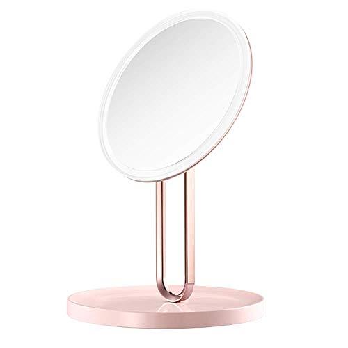 ZYLZL Espejo, baño, montado en la pared, tocador, espejo de maquillaje LED Princesa con espejo de maquillaje ligero Pantalla táctil inteligente con espejo de tocador portátil,Rosa