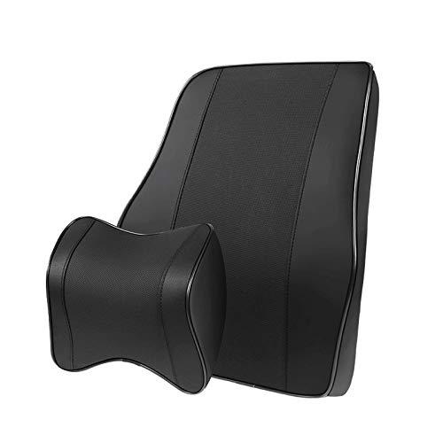 JONJUMP 2 unids coche asiento respaldo apoyo almohada cuello almohada conjunto memoria algodón fibra cuero lumbar apoyo coche viaje almohada resto