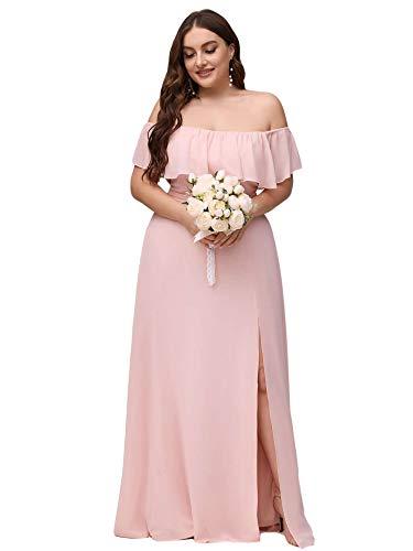 Ever-Pretty Women's Short Sleeve Chiffon Bridesmaid Dress Plus Size Maxi Dress Pink US18