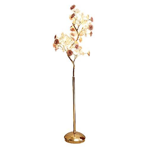 Lampes de chevet Lampadaire Salon Lampadaire Vertical Simple Moderne Chambre Étude Décoration Lampe en Céramique Cristal Fleur Lampe (Color : Pink, Size : 54 * 162cm)