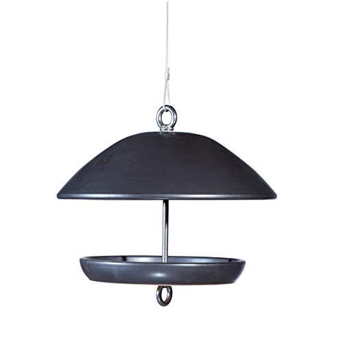 Vogelhaus zum Aufhängen aus wetterfester Keramik und Edelstahl - Wildvogel Futterhaus + XXL Meisenknödel (Anthrazit)