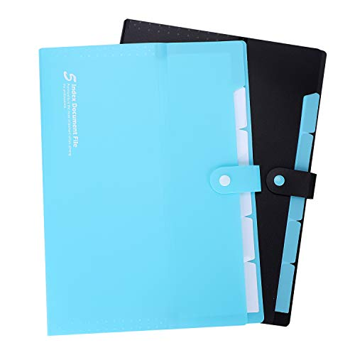 2Pack A4 Waterproof Plastic Expanding File Folders Portable 5 Pockets Accordian Document Organizer with Snaps Clourse Multi-Layers File Project Holders Labels for Office Business Supplies