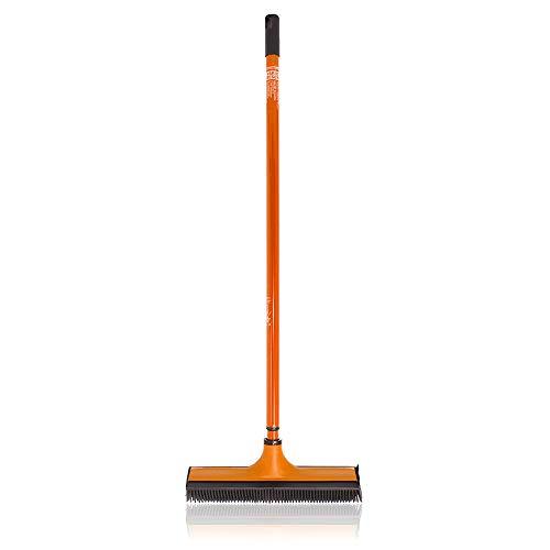 Das Blaue Wunder Vario-Besen (Orange) I Einfache Reinigung mit V-Borsten I Abwaschbar I Gummilippe I Teleskopstiel