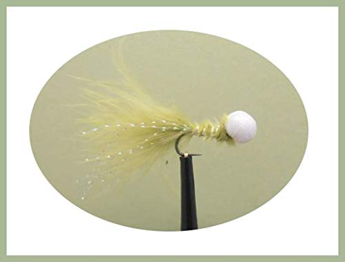 6 Pack of Barbless Olive Booby Trout Fishing Flies Size 10 Lures for rainbow trout