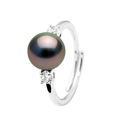 Pearls & Colors - Anello di Gioielleria - Vera Perla Coltivata di Tahiti Rotonda 8-9 mm - qualità A+ - Misura Regolabile - Argento 925 e Zirconi - Gioielli Donna