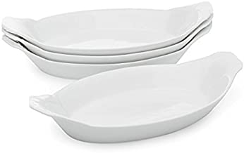 Oval Au Gratin Baking Dishes, Rarebit, Fine White Porcelain 9.25 Inches Set Of 6 (9.25