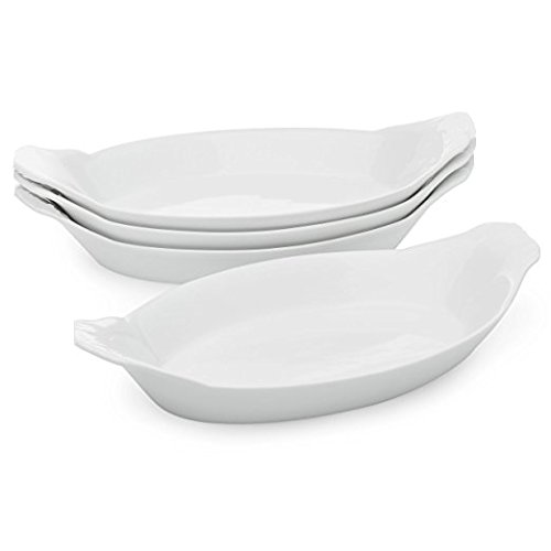 "Oval Au Gratin Baking Dishes, Rarebit, Fine White Porcelain 9.25 Inches Set Of 6 (9.25"" 6 PACK)"