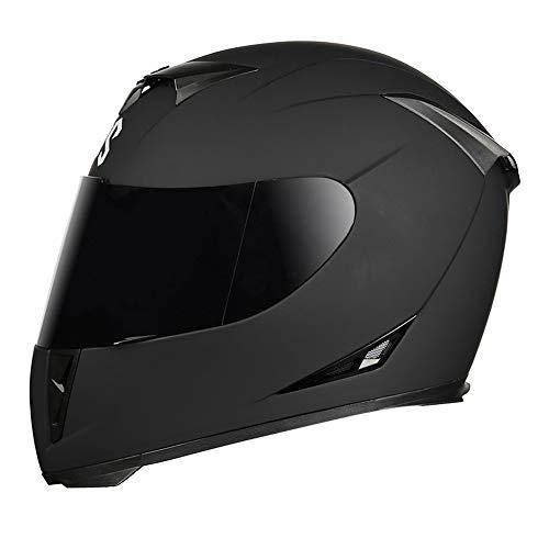HIPJZ Integral-Helm · Full-Face Motorrad-Helm Roller-Helm Scooter-Helm Cruiser Sturz-Helm Street Fighter-Helm Visier Schnellverschluss Tasche (F,M(55-57cm))