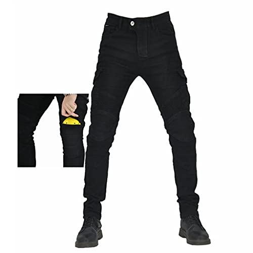 TMOYJPX Pantalon Moto Hombre con Protección Carreras Pantalones de Trabajo Hombre Invierno, Pantalón Cargo Vaqueros Elástico Motocross Motocicleta (Negro, M)