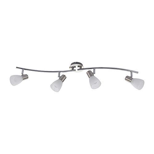 ELC LED Deckenlampe Edelstahl Glas, schwenkbar & drehbar | 4 flammig, inkl. 4 x 4,5W E14 LED Leuchtmittel | LED Deckenleuchte | Deckenstrahler warmweiss | Metall nickel matt chrom | Deckenspot | Spot