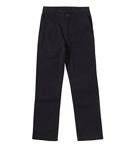 Bienzoe Niño Uniformes Escolares Algodón Ajustable Delgado Pantalones Negro 7