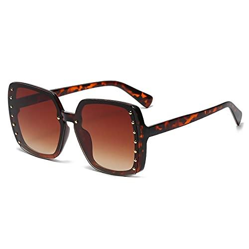 AMFG Gafas de sol cuadradas Remache femenino Gafas de sol Masculino Estilo Calle Gafas de disparo Mirrón (Color : B)