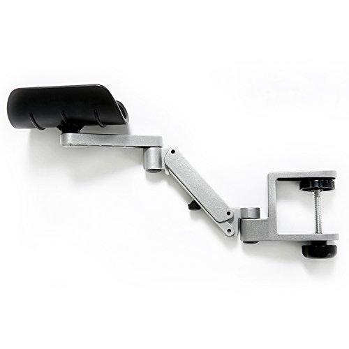 Patu Drehbare Schreibtisch-Verlängerung aus Aluminiumlegierung, Ellenbogenpolster, Armauflage – Silber (1 Stück)