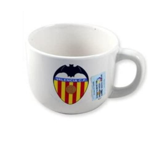 BricoLoco. Taza tazón original con el escudo del Valencia cf. Tazón taza de desayuno para cereales café. Para regalar a los amantes de futbol. (12 uds)