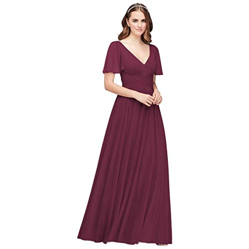 David's Bridal Flutter Sleeve Crisscross Mesh Bridesmaid Dress Style F19933, Wine, 2