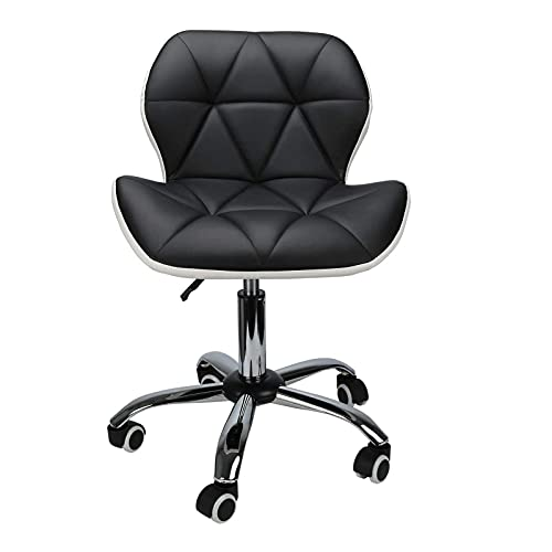MorNon Padded Desk Chair Adjustable Swivel Comfy Office Chair PU Leather Desk Chair for Home Office Computer Chair with Support (Black )