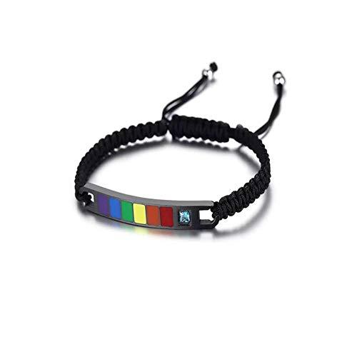 HoBST Stainless Steel Rainbow Gay & Lesbian LGBT Pride Adjustable Handmade Bracelet for Couples (Black)