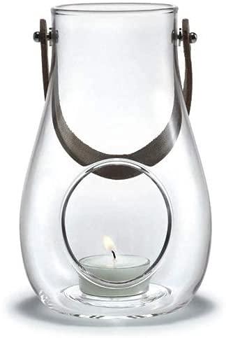Holmegaard Design Kerzenlicht Laterne, Windlicht aus Glas mit Kernleder Henkel, Dekolaternen für innen und außen, Klar, 16cm