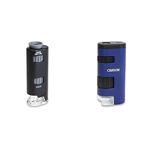 Carson 60x-75x MicroMax LED Lighted Pocket Microscope (MM-200) & Pocket Micro 20x-60x LED Lighted Zoom Field Microscope with Aspheric Lens System (MM-450),Blue