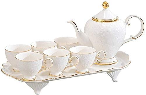 FGDSA Porcelain Tea Set Afternoon Tea Sets with Afternoon Tea Tea Set Set Household Tray with Living Room Water Cup Teapot Water Set Ceramic