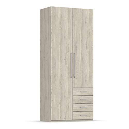 Unniq Armario ropero 2 Puertas batientes y 4 cajones - 238x98x59 cm - Roble Natural