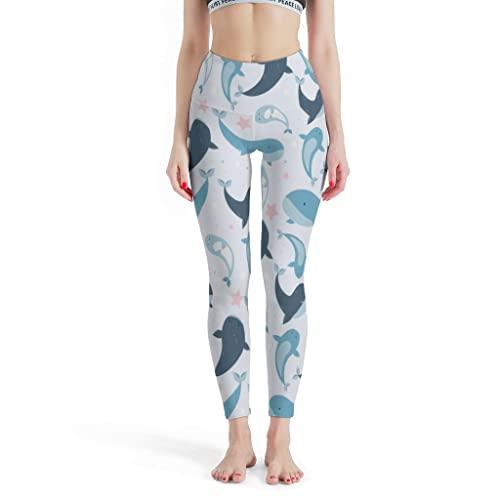 Magiböes Mallas de yoga para mujer, talla XL, diseño de delfines y estrellas de mar, color blanco, talla XL
