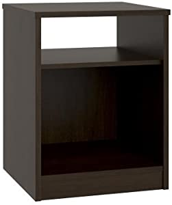 Mainstays Nightstand Features Open Top Shelf and Bottom Cubby, (1, Espresso)