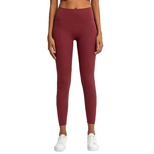 TXXT Leggings deportivos para mujer, de cintura alta, para yoga, a prueba de sentadillas, fitness, gimnasio, atléticos, (color: rojo vino, tamaño: grande)