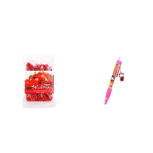 [2点セット] 収穫の朝 さくらんぼグラッセ ラム酒風味(180g)・飛騨さるぼぼだっこキティ シャープペン / 子宝・安産祈願 //