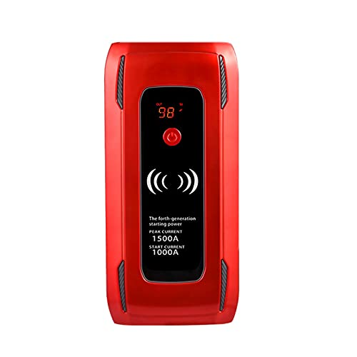 LBYDXD Arrancador portátil, 26000mAh Arrancador de Coches con Cargador Inalámbrico, Fino a 6,0L a Benzina o Diesel da 4,0L, Fuente de alimentación de Emergencia máxima de 1500 A con luz LED y Puertos