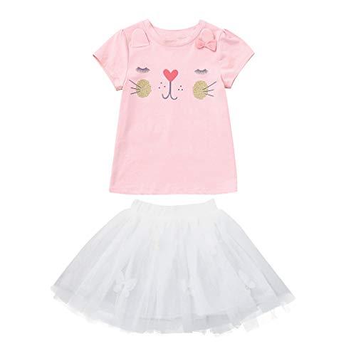 Janly Liquidación Venta 0-10 años de edad, conjunto de trajes de niña de dibujos animados de conejo Tops...