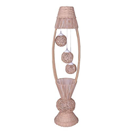 Lampadaires Asie du sud-est Style Rotin Lampadaire Salon Chambre Etude Creative Chaud Romantique Standard Lumière Lampadaires Vertical E27 H140cm Luminaires intérieur Lampadaires Lampe sur Pied