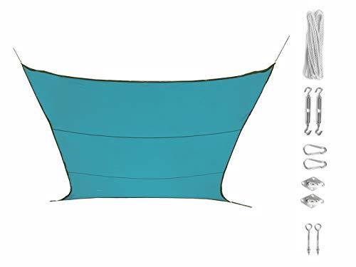 Perel Unbekannt Voile d'ombrage rectangulaire 6 m² Bleu Clair avec Fixation, Protection Solaire pour Terrasse