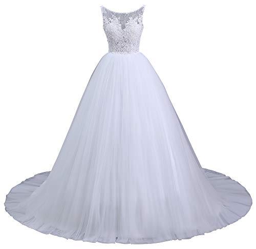 Romantic-Fashion Brautkleid Hochzeitskleid Weiß Modell W104 A-Linie Träger Satin Organza DE Größe 46