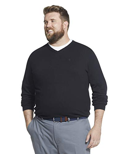 IZOD Men's Big & Tall Big Premium Essentials Solid V-Neck 12 Gauge Sweater, BLACK, 5X-Large Tall