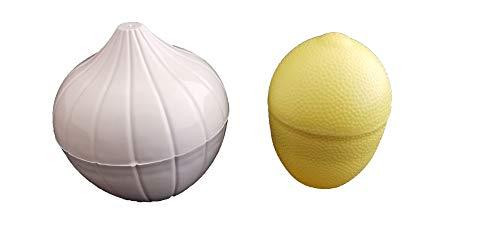 Guarda Cebolla Ajos Nevera Cebollero Limones Limonero Recipiente Conservar Frutas Verdura Hortaliza Contenedor Almacenamiento Pack Kit Set (CEBOLLA + LIMÓN (PACK2))
