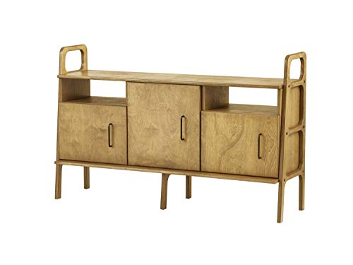 Plywood Project, Mid century sideboard, Scandinavian console, 1 cabinet + 2 cabinets with open shelves, 460 VI, Baltic birch plywood, 90 cm tall, Custom, Oak Wood Color