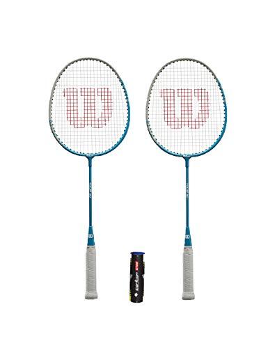 2x Wilson Tour 30 Junior Raquetas de bádminton + 3 plumas