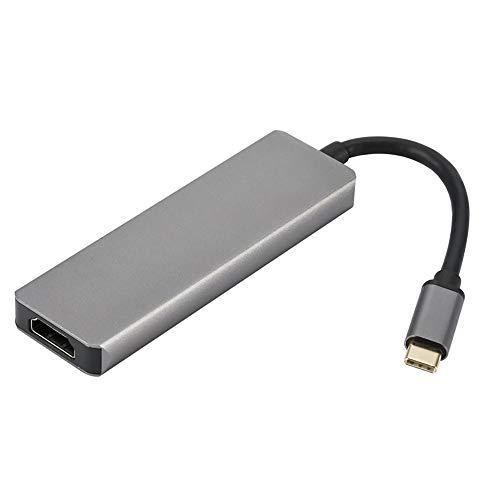 Hub USB C de aluminio tipo C Hub con 2 puertos USB 3.0, lector de tarjetas SD HDMI 4K MircoSD lector de tarjetas para MacBook Pro 2016/2017 Chromebook Pixel y más dispositivos tipo C
