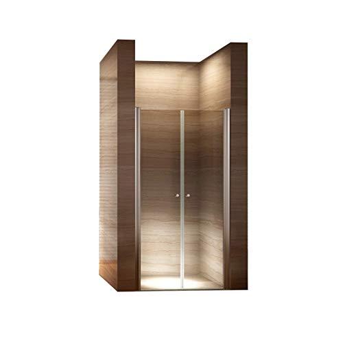 Duschwand, Höhe 185 cm – Duschabtrennung, Duschtür aus 6mm Sicherheitsglas / Transparent 80-84 cm
